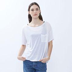 WOMEN Modal Linen Short Sleeve Boxy T-Shirt