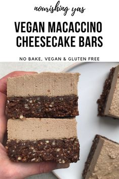 Vegan Macaccino Cheesecake Bars | Nourishing Yas - Simple Plant based Recipes  #vegandesserts #macapowder #vegancheesecake #cheesecakebars #nobakedesserts #vegancheesecake #healthyrecipes #veanrecipes #plantbasedrecipes #plantbased