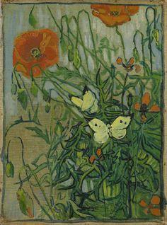 Poppies and Butterflies, Vincent van Gogh 1890