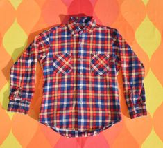 vintage 70s shirt plaid button down JEANS JOINT short sleeve XL Large