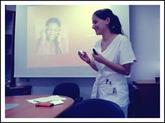 me! doing a lecher about communication of pain to my grope (we all did one about different things)