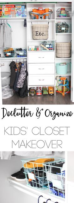 Kids' Closet Makeover- Organization tips and getting rid of that Kid Clutter for a kid friendly closet.