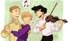 deebzy:    I want there to be a thing where John and Sherlock throw Mrs. Hudson a tiny birthday party and it's just the three of them and they eat cake and maybe have some wine or something, and John and Mrs. Hudson dance while Sherlock plays violin and they sing Happy Birthday and it's just really cute.    Yes please!
