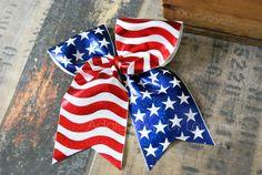 Big cheer bow, big dance bow, OTT hair bow, boutique hair bow, patriotic hair bow, red white blue hair bow, clip, clippie, hair clip, pony o