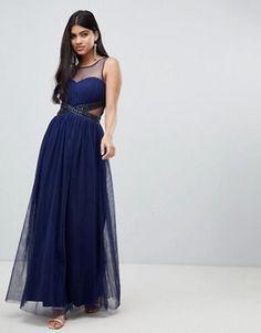 307aa67cc8f3 Little Mistress embellished waist maxi dress in navy Tärnklänningar,  Brudklänningar, Bröllop, Damkläder,