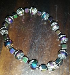 Crystal and square hematite stretch bracelet by BritkneesBootique on Etsy