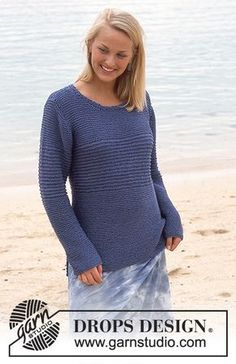 DROPS Garter stitch jumper in Muskat and Glitter Free pattern by DROPS Design.