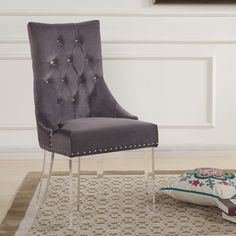 Lowest price on Armen Living Gobi Modern and Contemporary Tufted Dining Chair in Gray Velvet with Acrylic Legs LCGOCHGRAY. Acrylic Dining Chairs, Tufted Dining Chairs, Solid Wood Dining Chairs, Dining Chair Set, Desk Chair, Swivel Chair, Sofa Chair, Dining Tables, Desk Lamp