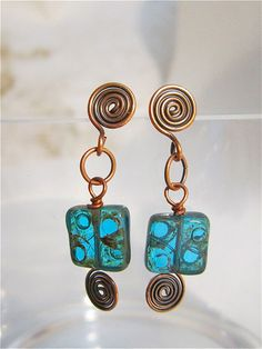 Aqua Czech glass beads with opper spiral post earrings by MsL2L, via Flickr