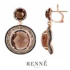 Brincos em Ouro rosè 18k com Quartzo Fumê + Diamantes light brown, negros e brancos. Rennê Joias