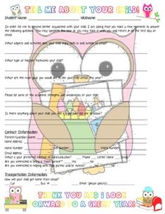 ADORABLE owl themed back-to-school night form for parents. LOVE this!