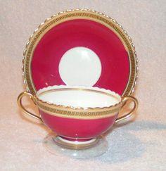 Vintage Cauldon Ware Eng Raspberry Greek Key Gold Double Handle Teacup Saucer | eBay