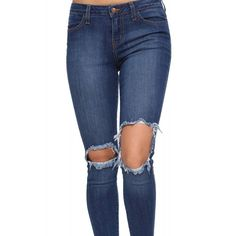 Raw Hem Ripped Jeans ($40) ❤ liked on Polyvore featuring jeans, pants, zipper jeans, destructed jeans, ripped jeans, distressed jeans and blue jeans