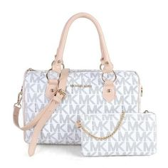Michael Kors Grayson Logo Medium White Satchels