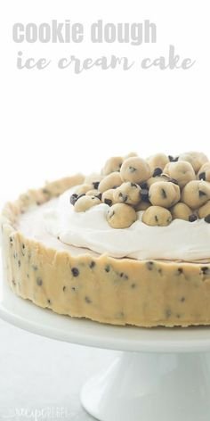 Cookie Dough Ice Cream Cake is an easy, no bake dessert for a summer cookout or birthday party! Made on a cookie dough crust, filled with no churn ice cream and topped with chunks of cookie dough. Includes step by step recipe video No Bake Cookie Dough, Cookie Dough Recipes, No Bake Cookies, Cookies Et Biscuits, Cookie Dough Ice Cream Recipe, Cookie Dough Cupcakes, Ice Cream Cupcakes, Desserts With Cookie Dough, Cookie Dough Cheesecake