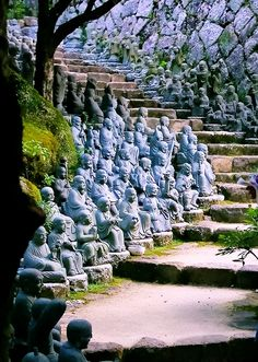 Statue stairs at Daisho-in Temple, Miyajima, Japan