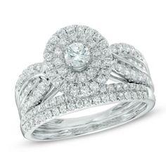1 CT. T.W. Diamond Double Frame Bridal Set in 14K White Gold