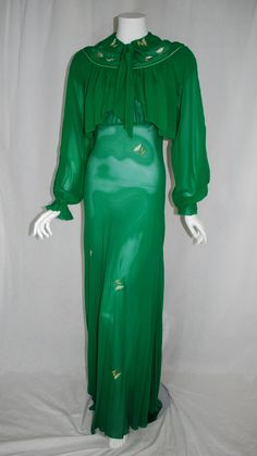 1949 - early 1950 Lucie Ann Silk Peignoir set with biased nightgown and bed jacket