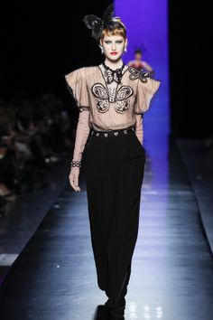 Jean Paul Gaultier Couture S/S 2014  Love the black + blush color combo.
