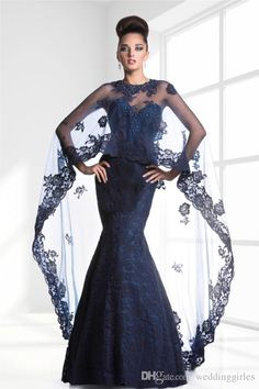 Muslim Navy Blue Mother Of The Bride Dresses With Cape Sweetheart Mermaid Lace Backless Full Length Evening Dress Crystal Prom Gowns JQ3329