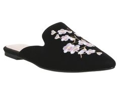 Office Floral Embroidered Point Mules Black