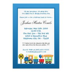 5x7 Choo Choo Train Blue Birthday Party Invitation