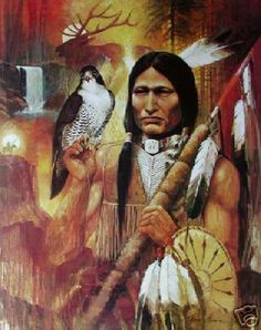 Indianer und Falke