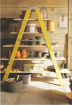 DIY: Ladder Organizer How To - easy and inexpensive project that can help you get your garage or potting shed in order.