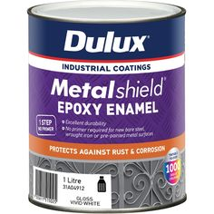 Find Dulux Metalshield White Base Topcoat Epoxy Enamel Paint at Bunnings Warehouse. Visit your local store for the widest range of paint & decorating products. Painted Doors, Painted Metal, Paint Brushes And Rollers, Different Types Of Painting, Metal Gates, Gloss Paint, Cleaning Walls, Enamel Paint