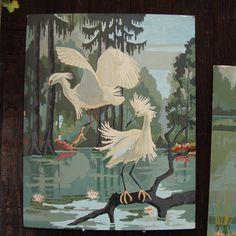 Flamingos & Egrets Vintage Paint By Number by RareRagsandTreasures, $123.00