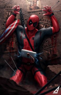 DeadPool after a night or with the avengers Marvel Dc Comics, Marvel Heroes, Deadpool Art, Deadpool Funny, Comic Book Characters, Comic Character, X Men, Thor, Loki