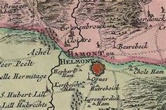 Hamont en Achel op een kaart van 1748, met duidelijk zichtbaar de ...