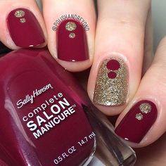 Burgundy & Gold Nail Design