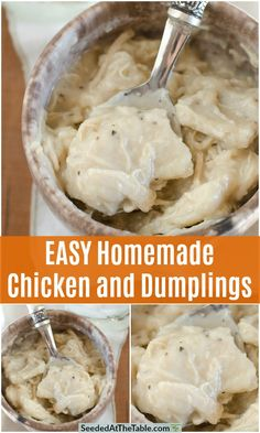 EASY and delicious Chicken and Dumplings recipe straight from a Southern gramma's kitchen. A truly southern homemade chicken and dumplings recipe from the Mississippi Delta. Similar to Cracker Barrel's chicken and dumplings! Chicken And Dumplings Southern, Homemade Chicken And Dumplings, Southern Chicken, Chicken Dumplings, Yummy Chicken Recipes, Yum Yum Chicken, Cooked Chicken, Rotisserie Chicken, Dumplin Recipe