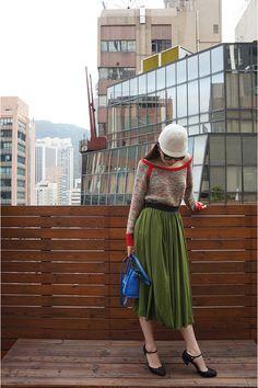 Red-ba-sh-sweater-green-innamorato-skirt