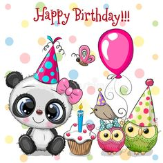 Cute Panda and owls with balloon and bonnets. Birthday card with Cute Panda and owls with balloon and bonnets royalty free illustration Happy Birthday Art, Birthday Wishes For Kids, Panda Birthday, Happy Birthday Messages, Happy Birthday Images, Happy Birthday Greetings, Birthday Cards, Free Birthday, Sister Birthday