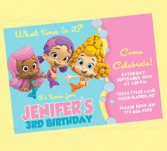 Bubble Guppies Party Invitations Bubble guppies Guppy and Bubble