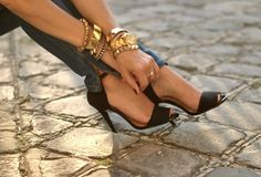 Feminine shoes, love the gold accessories