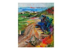 Country Road to the Sea - Plein Air Landscape Oil Painting Original Impressionist Art Vibrant Bright Colourful Countryside Fields Green Hill by AnnaFineArtStudio on Etsy