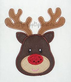 Christmas Reindeer Embroidery Design Machine Applique by theappliquediva on Etsy https://www.etsy.com/listing/87137126/christmas-reindeer-embroidery-design