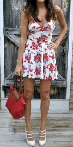 floral sundress and mary jane pumps