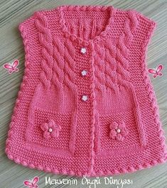 Baby Vest Knit Baby Dress Knitted Baby D - maallure Knit Baby Dress, Knitted Baby Clothes, Baby Cardigan, Knitted Hats, Knitting Blogs, Knitting For Kids, Baby Knitting Patterns, Free Knitting, Baby Girl Vest