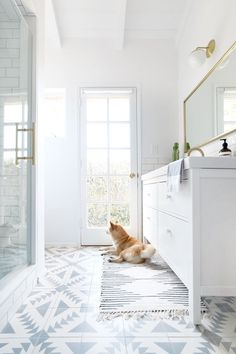 A pup in the bathroom for good measure! Photography : Jen Ha of Hello Hoku Read More on SMP: http://www.stylemepretty.com/living/2016/08/04/calling-all-patterned-tile-lovers-this-bath-reno-will-steal-your-heart/
