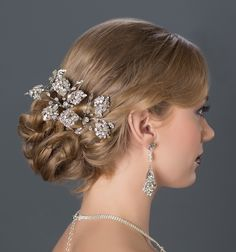 Bridal Hair Jewelry, Hair Pins. Erin Cole couture bridal hairpins & earrings. Gorgeous, breathtaking, completely unique. Crystal teardrop spray hairpin, a heirloom piece.