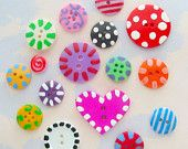 Hand-Painted Buttons Set of Sixteen