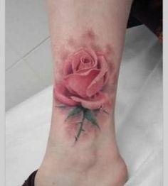 Watercolor style pink rose tattoo   Tattoomagz.com › Tattoo ...