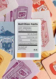 "Lucy Jennings Business Card - - Lucy Jennings designed these business cards for her self-branding as a designer and illustrator based in Hackney, East London. ""I set myself this project as a way to demonstrate my style as an illustrator and promote. Id Card Design, Graphisches Design, Logo Design, Graphic Design Branding, Graphic Design Posters, Corporate Design, Graphic Design Illustration, Graphic Design Inspiration, Game Design"