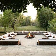 wold like a large communal fire pit where guests and interact, have a drink and share stories.We wold like a large communal fire pit where guests and interact, have a drink and share stories. Small Backyard Pools, Backyard Patio Designs, Fire Pit Backyard, Backyard Landscaping, Patio Ideas, Fire Pit Seating, Outdoor Seating Areas, Outdoor Fireplace Designs, Outdoor Kitchen Design