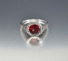 Silver Filigree Garnet Ring Art Deco Engagement Style