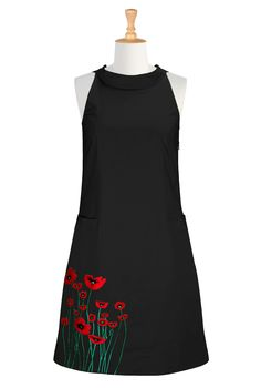 Plus Size Dresses, Clothing, Costumes - - Black style plus size mod dress-eShakti Women's Contrast floral embellished shift dress Source by vintagedancer Embroidery Fashion, Embroidery Dress, Ribbon Embroidery, Embroidery Stitches, Embroidery Patterns, 1960s Fashion, Vintage Fashion, Fashion Sewing, Plus Size Retro Dresses